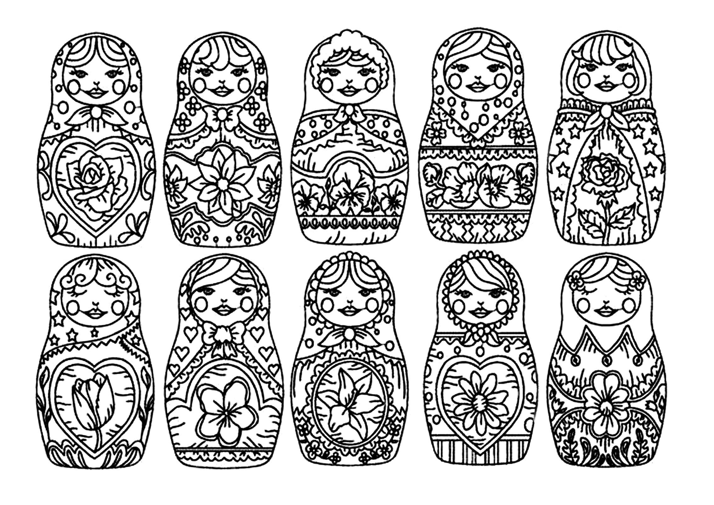 Colorear para adultos : Muñecas Rusas - 10
