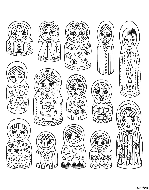 Colorear para adultos : Muñecas Rusas - 12