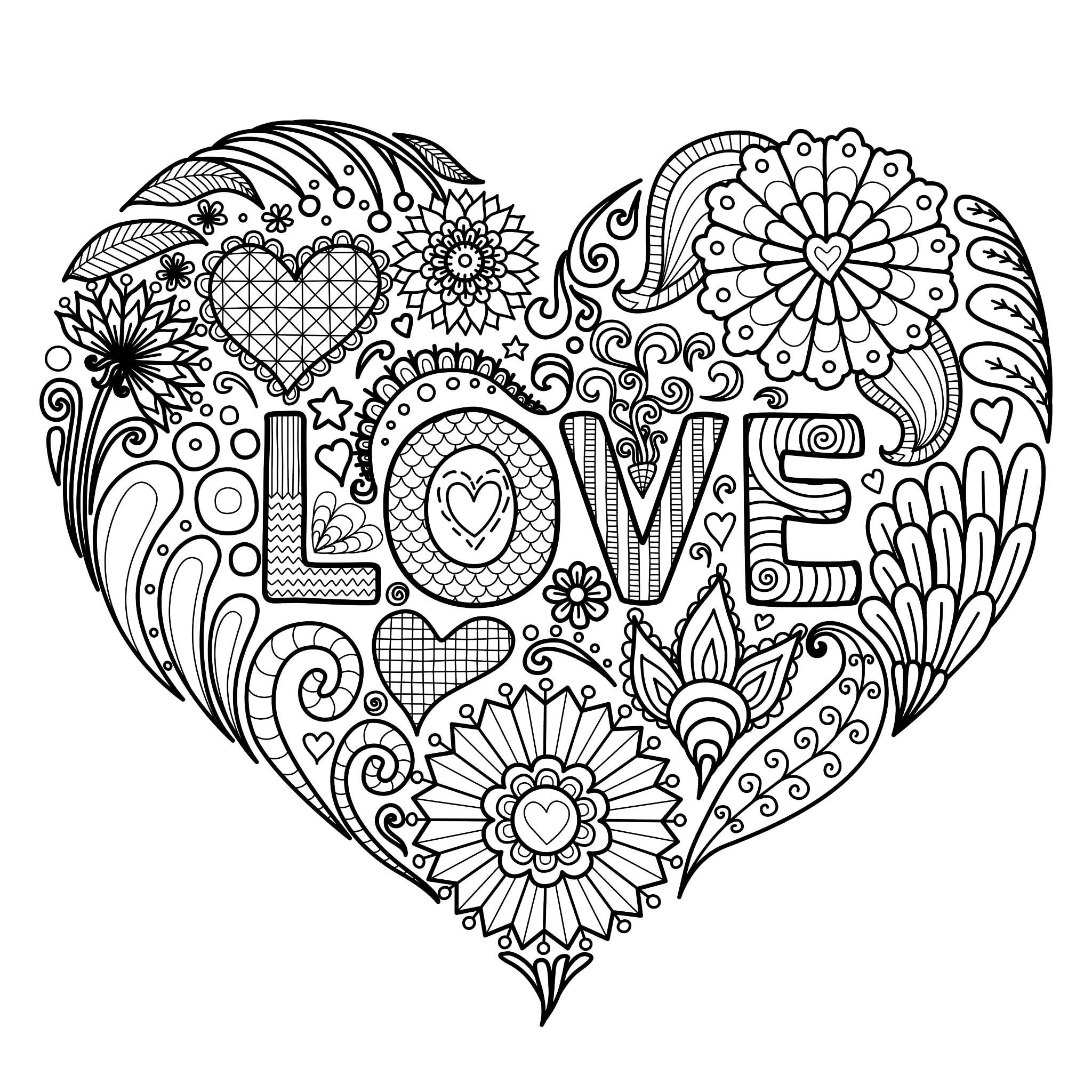 Colorear para Adultos : Día De San Valentín - 2