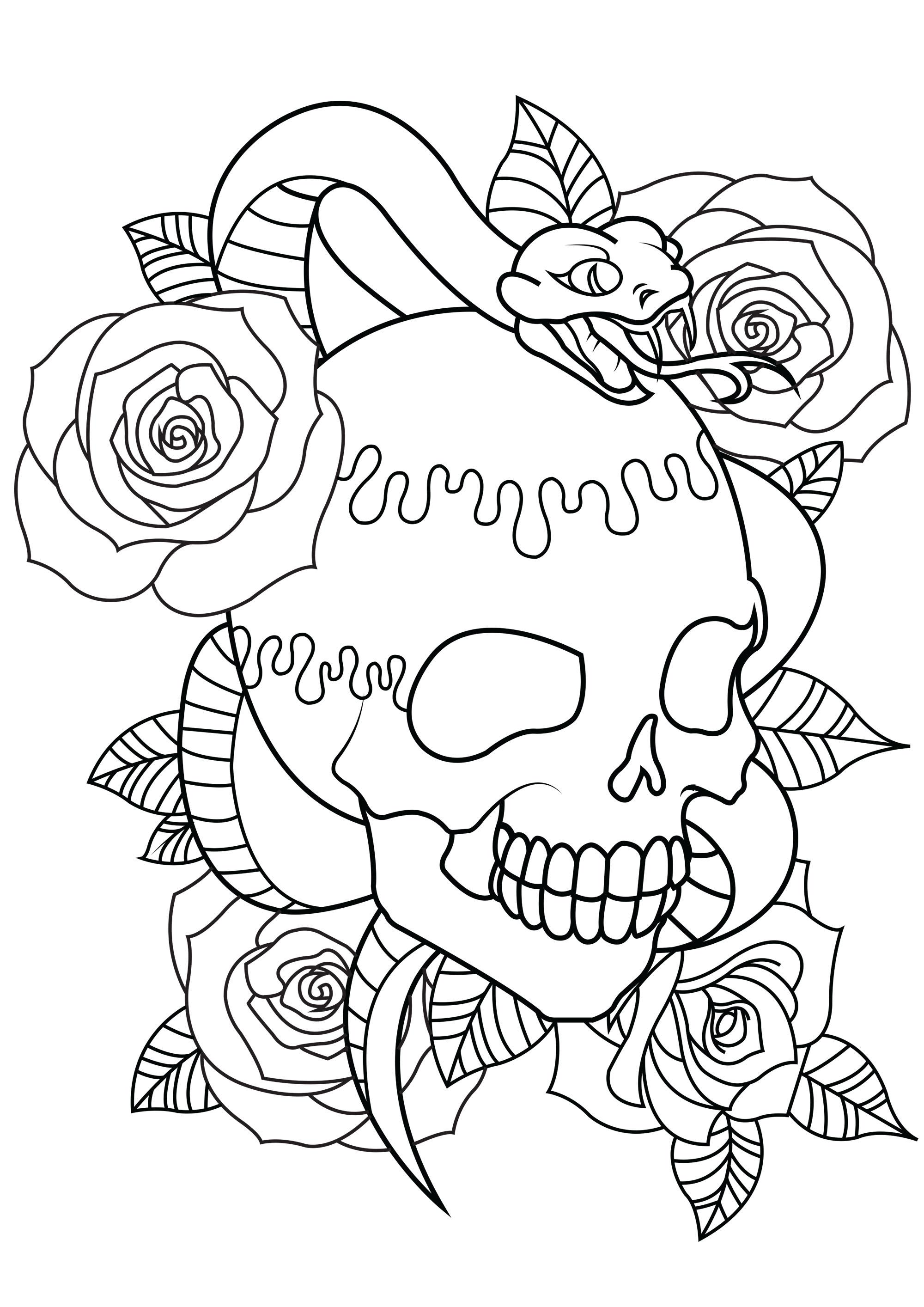 Colorear para Adultos : Tatuajes - 1 - Esta imagen contiene : Rosa, Cráneo