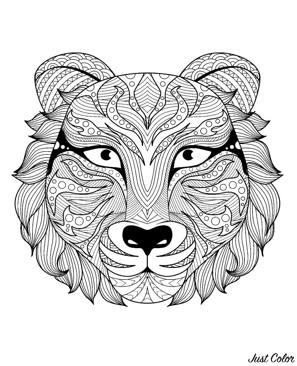 Colorear para adultos  : Tigres - 3
