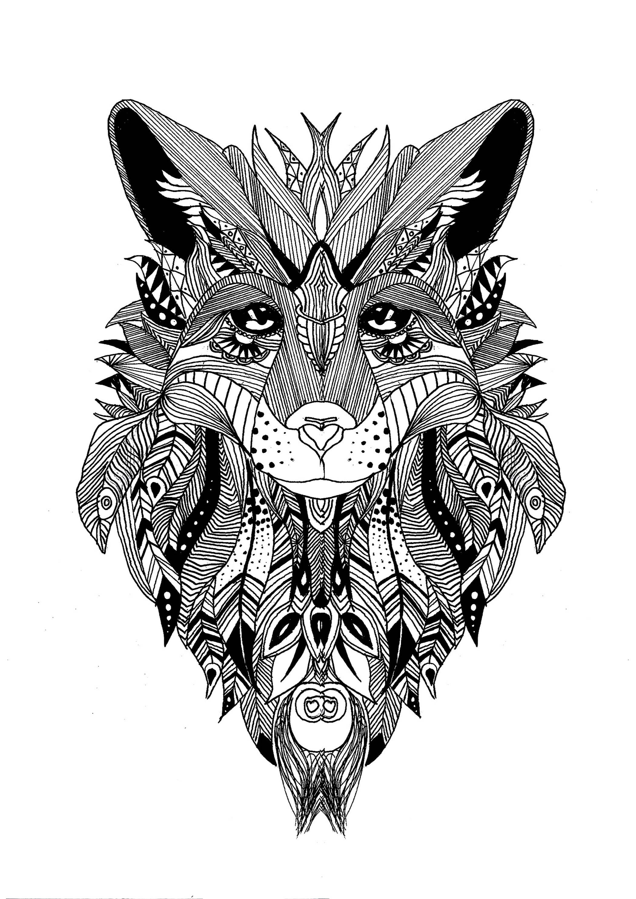 Colorear para adultos  : Lobos - 1