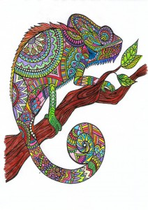 Cameleon Patterns Animals Coloring Pages For Adults