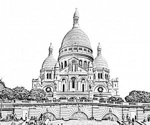 La Basilique du Sacré Cœur (Coloriage difficile)