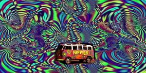 Un Bus hippie sur fond psychédélique