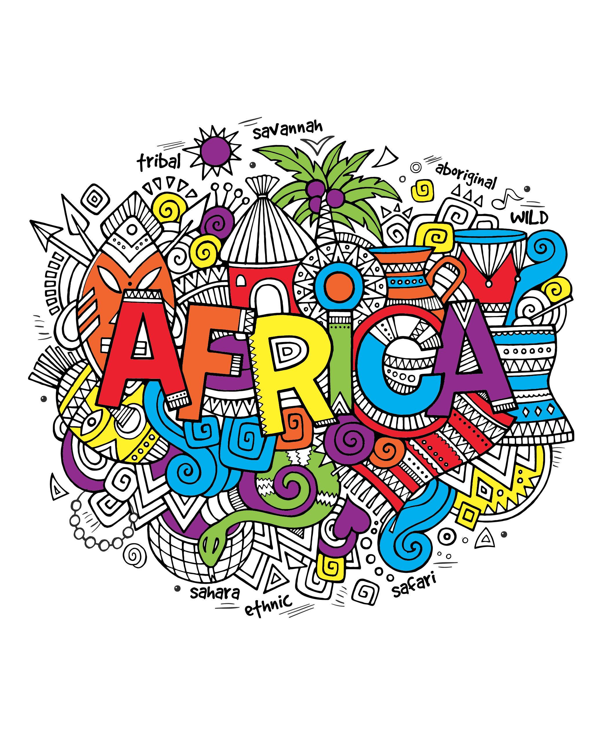 Afrique coloriages difficiles pour adultes justcolor - Dessin d afrique ...