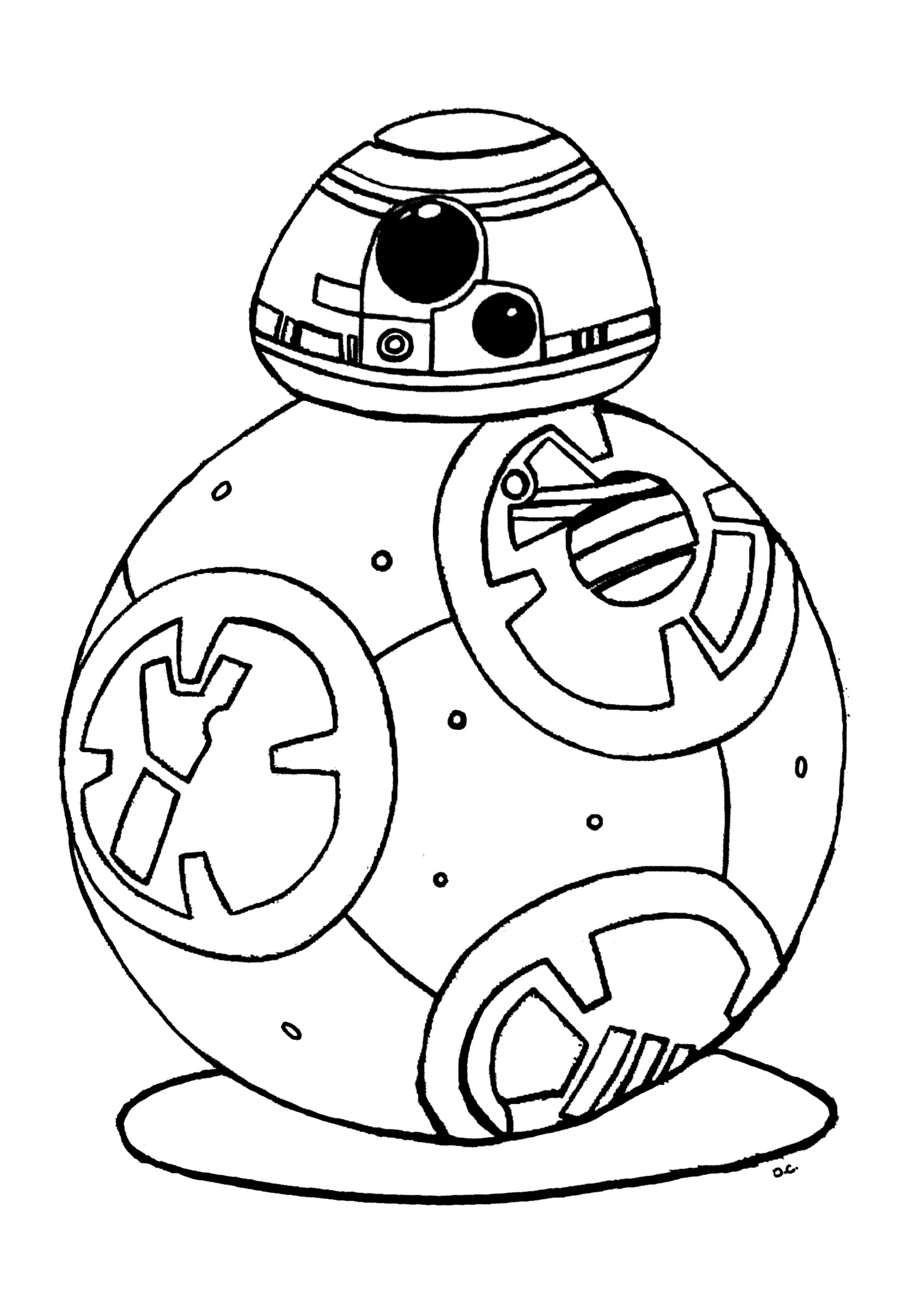 coloriage bb 8 star wars 7 reveil de