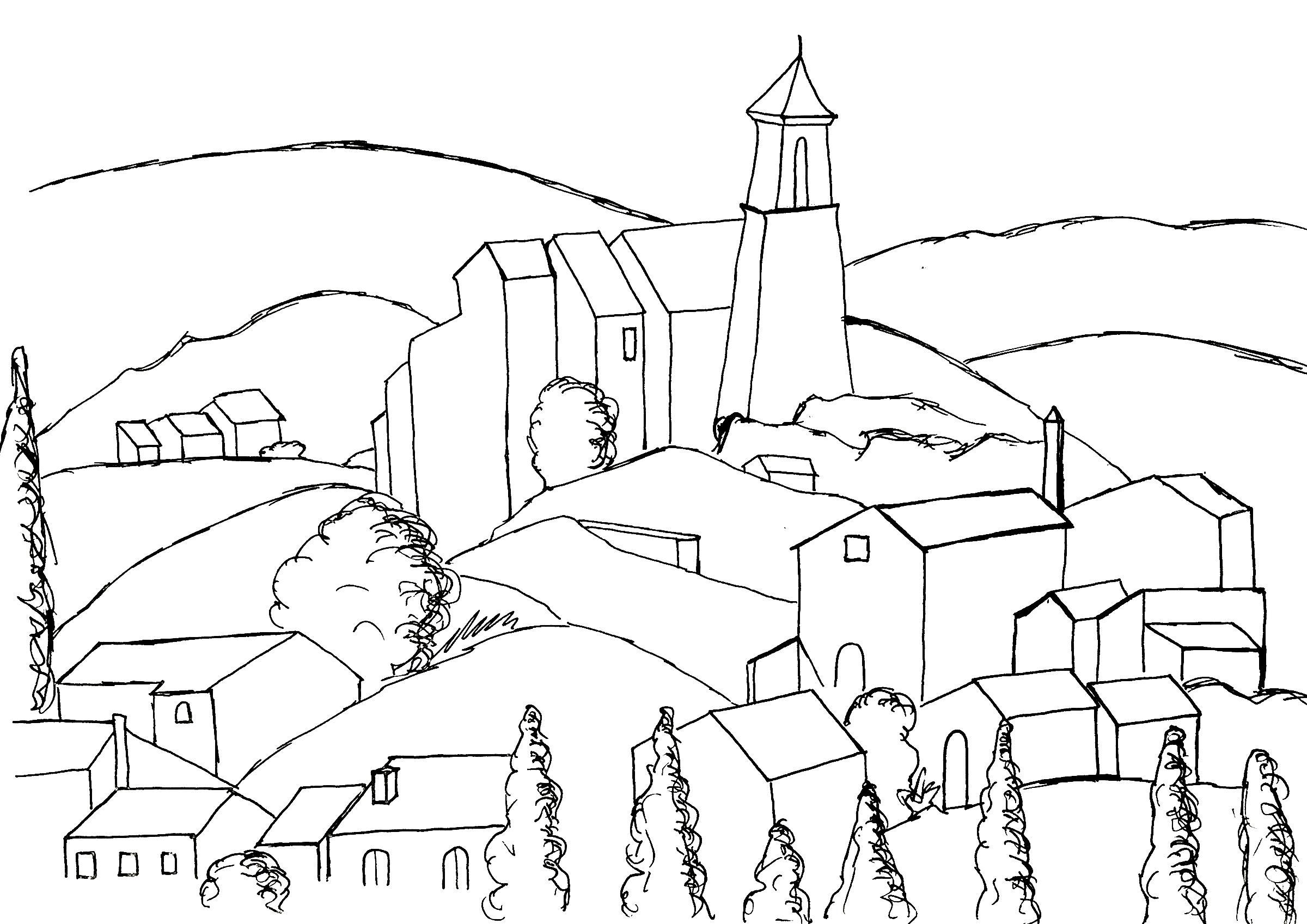 Un coloriage original inspir d 39 une peinture de cezanne - Village dessin ...