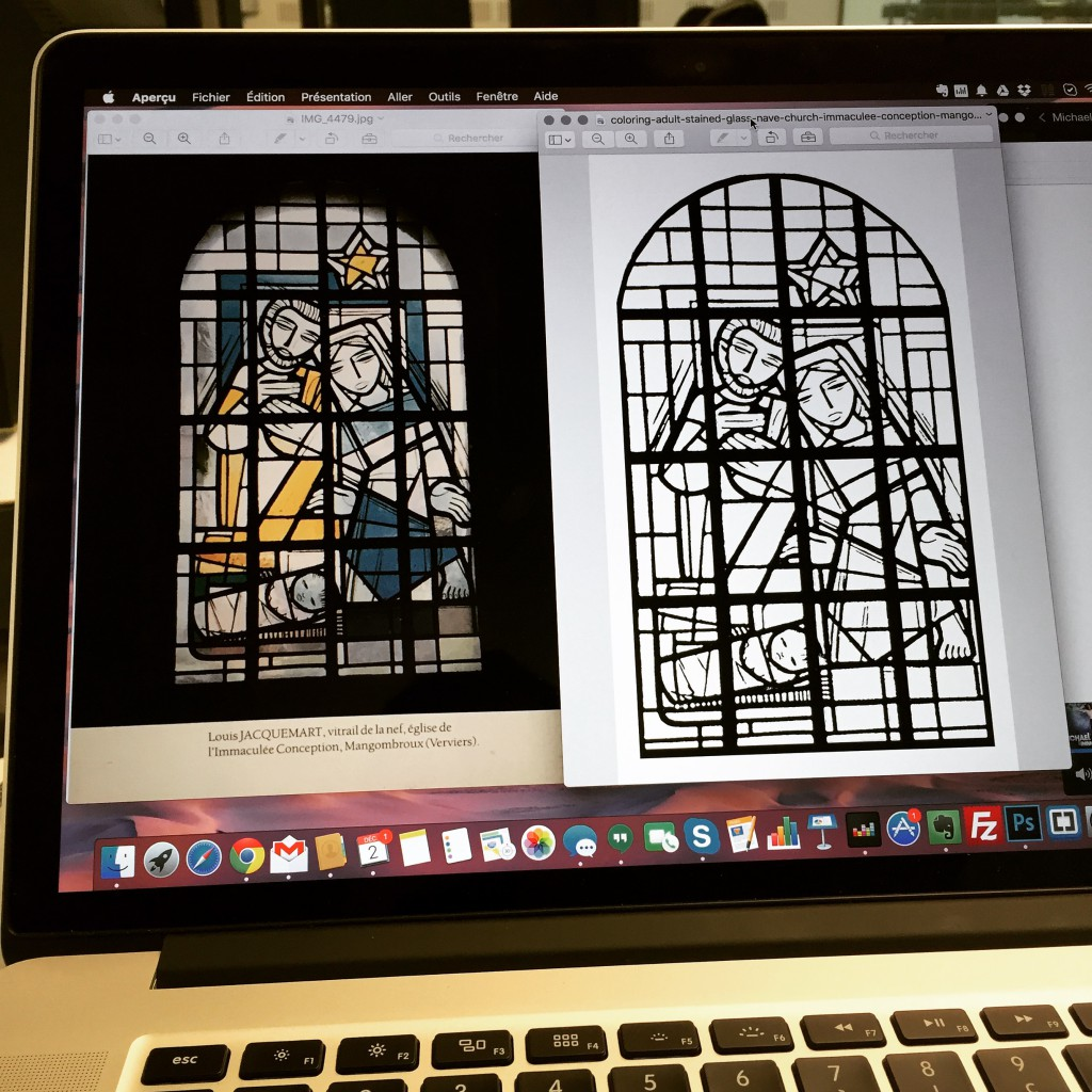 Avant / Après ... un coloriage à partir d'un vitrail !