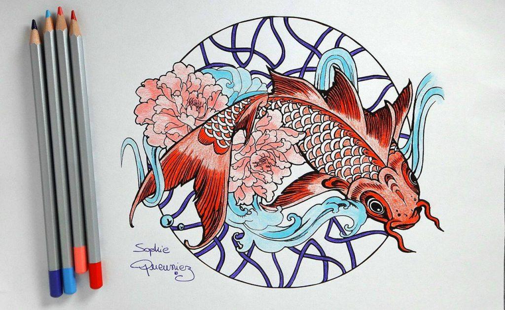 Tutoriel mandala carpe ko aux crayons de couleur par for Couleur carpe koi