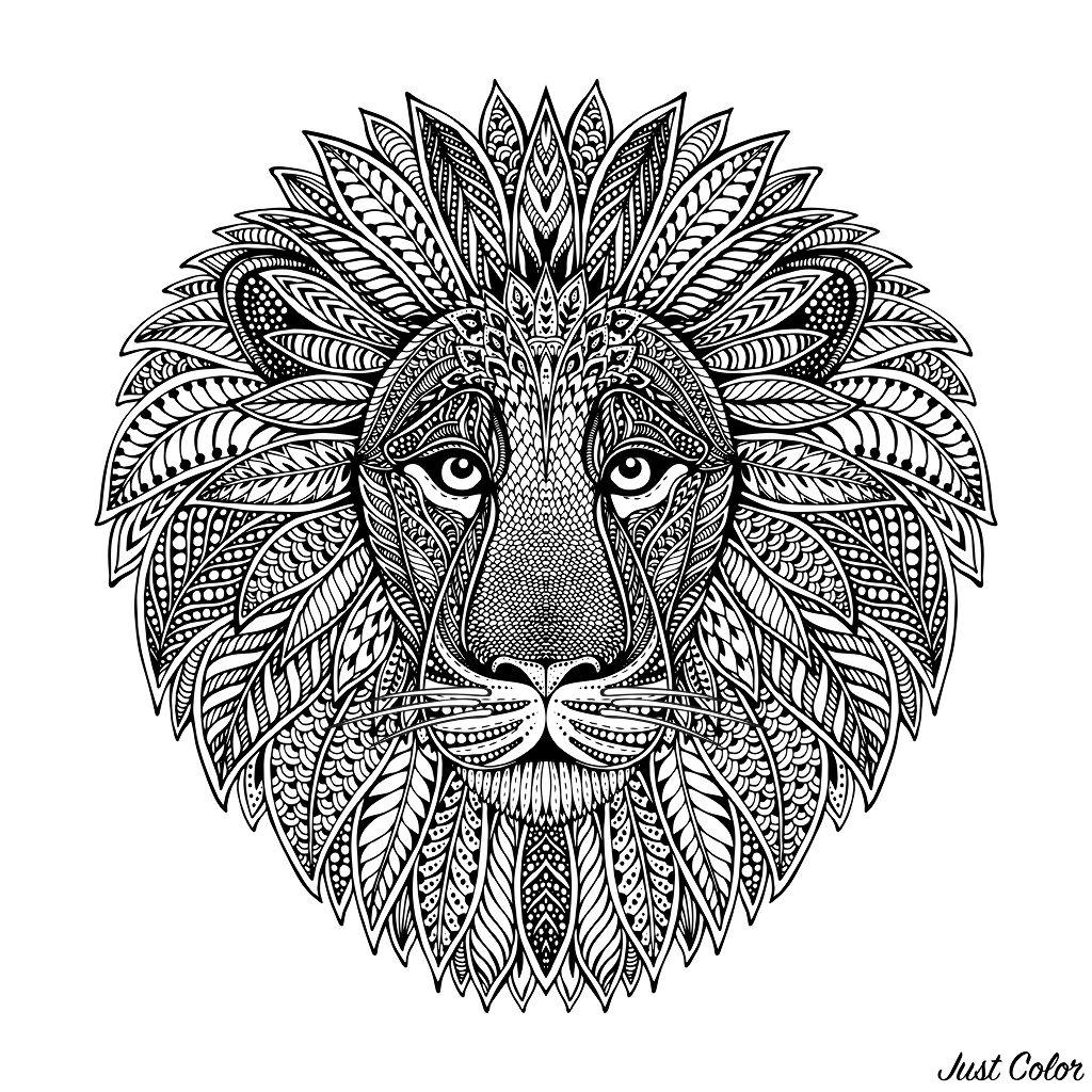 Coloriage De Lion Difficile.Tete De Lion Style Mandala Lions Coloriages Difficiles