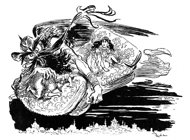 Retrouvez la scène du Tapis volant d'Aladin dans cette illustration saisissante, à mettre en couleur de manière totalement libre !