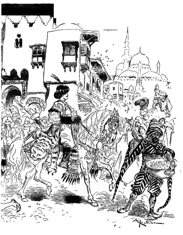 Une illustration tirée d'une ancienne édition du classique Aladin : une bonne occasion pour réaliser un coloriage difficile avec nombreux détails