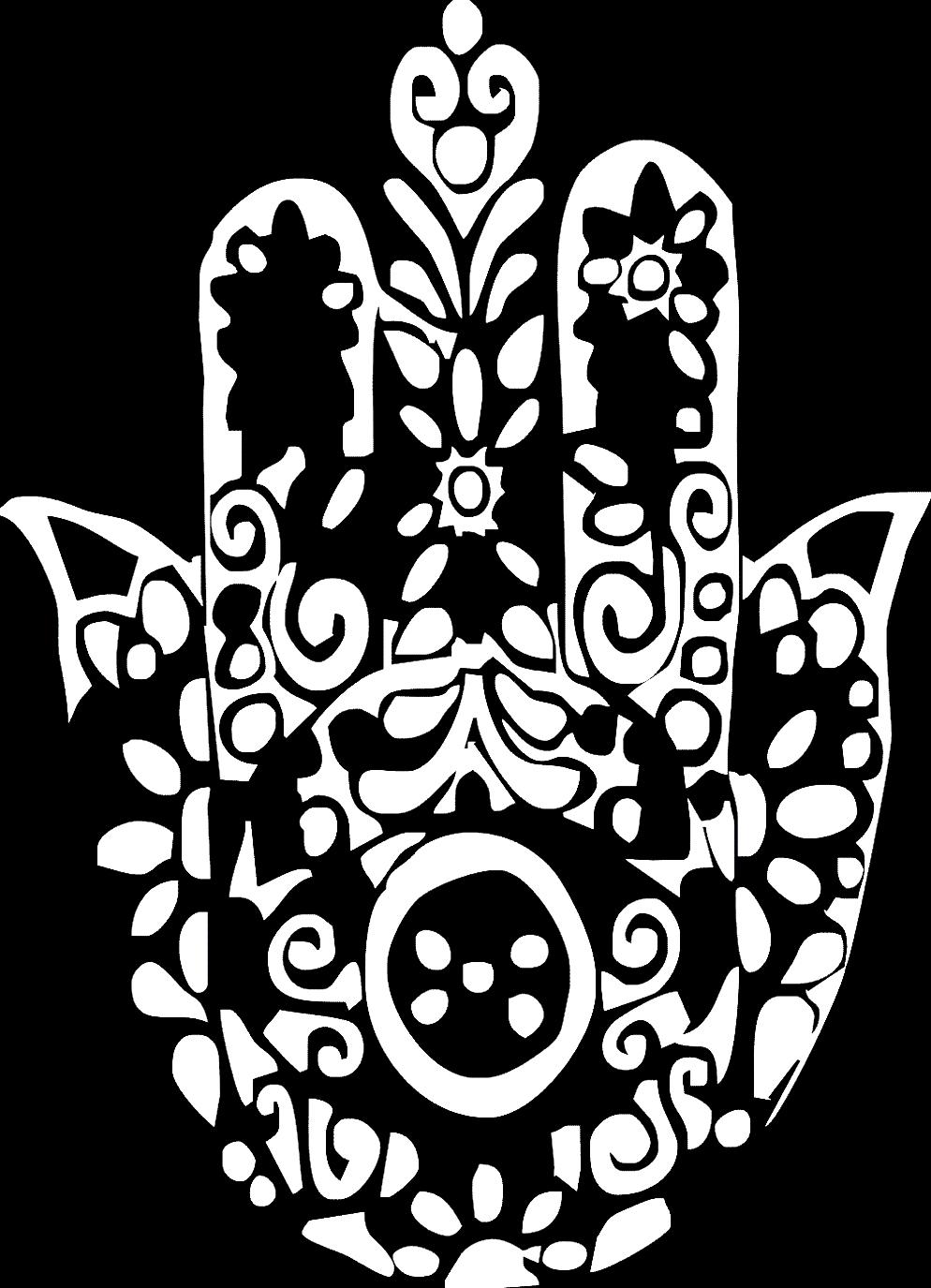 La main de Fatma (ou Fatima, ou Khamsa) est considéré comme une « main protectrice » voire même une « main de Dieu ». En voici une à mettre en couleur