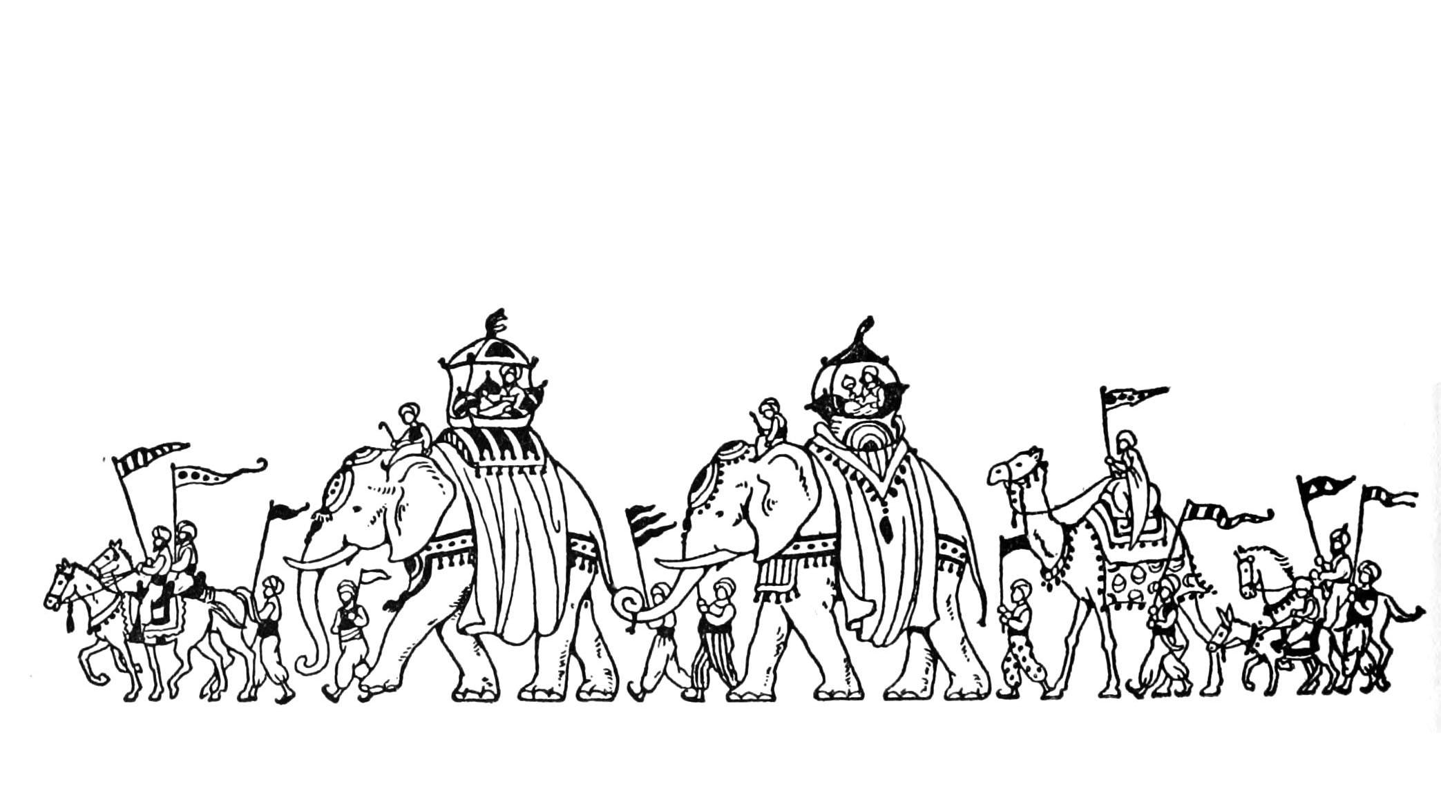 Coloriage oriental inspiré des 1001 nuits avec ce convoi royal à dos d'éléphants, protégés par des gardes sur chevaux