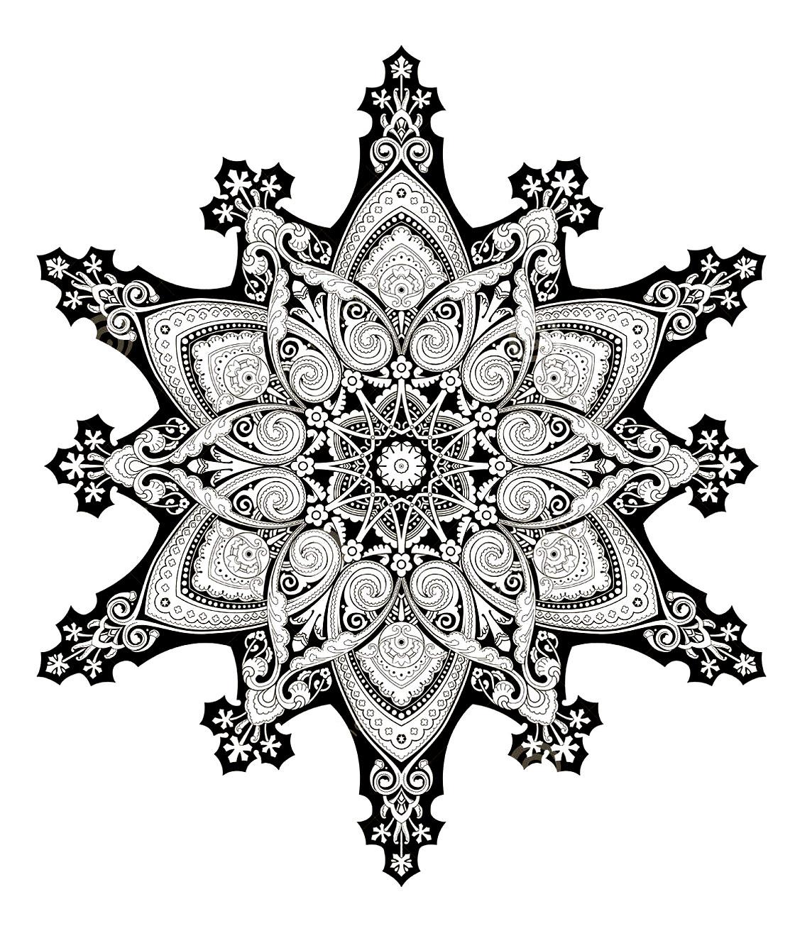 Un Mandala inspiré de motifs et illustrations orientales, avec énormément de détails et de régularité