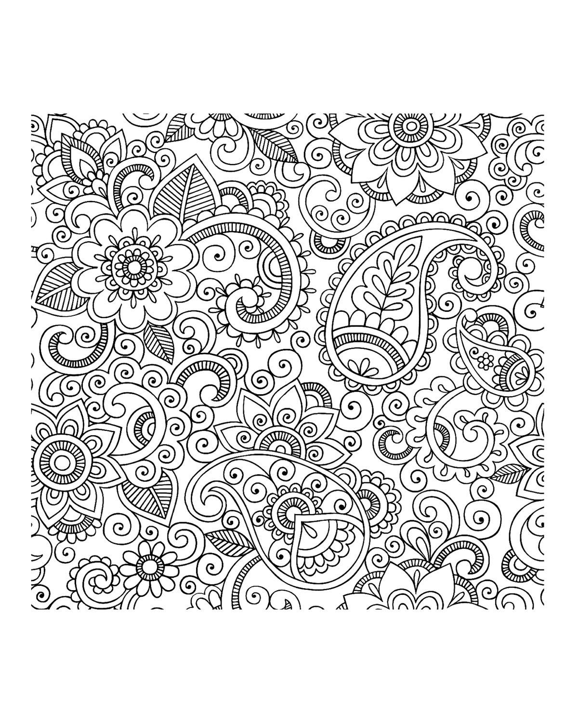 Des fleurs aux jolis pétales mélangées avec des motifs Paisley : un magnifique coloriage en perspective qui vous plongera au pays des 1001 nuits