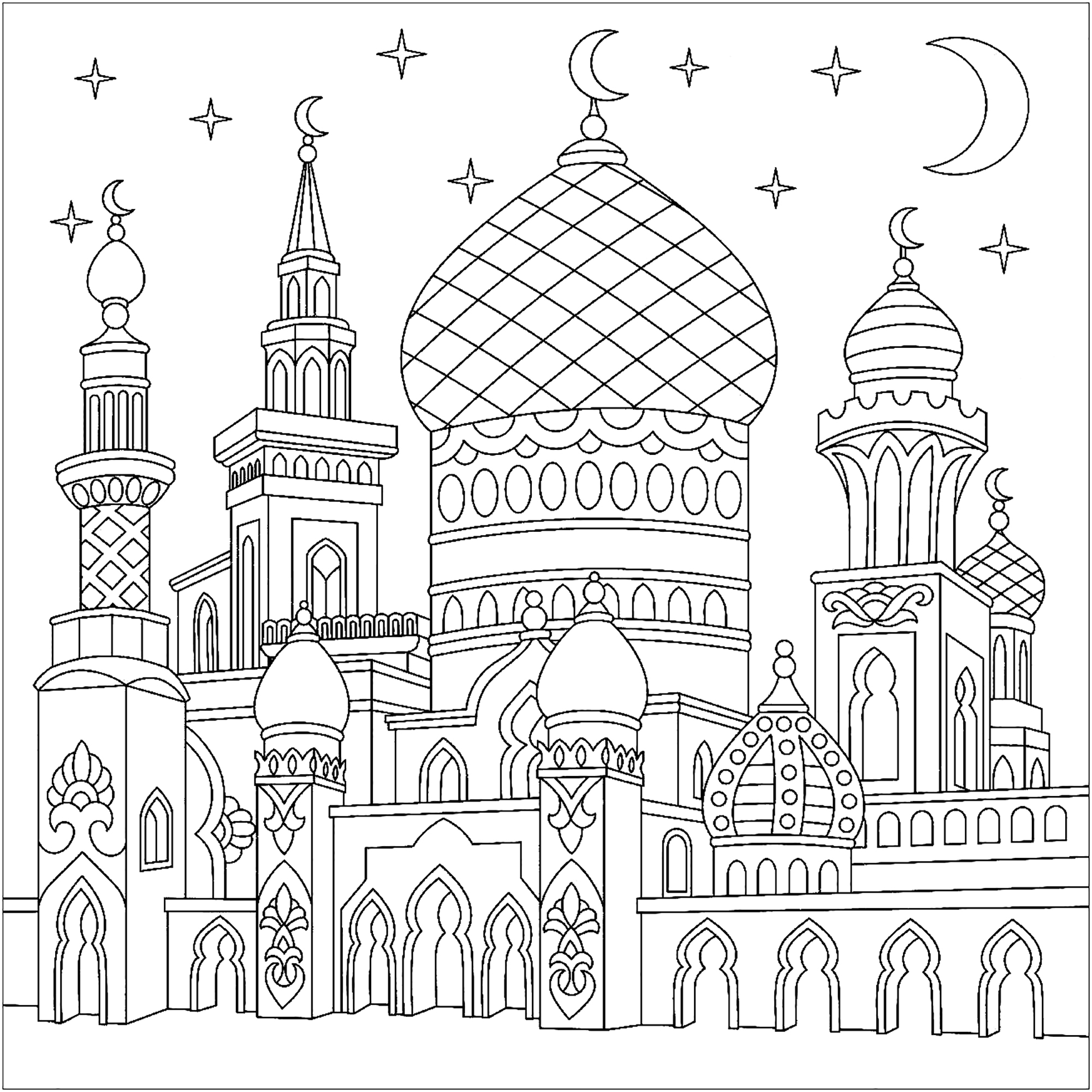 Mosqu e stylis e orient et 1001 nuits coloriages difficiles pour adultes - 1001 coloriages ...
