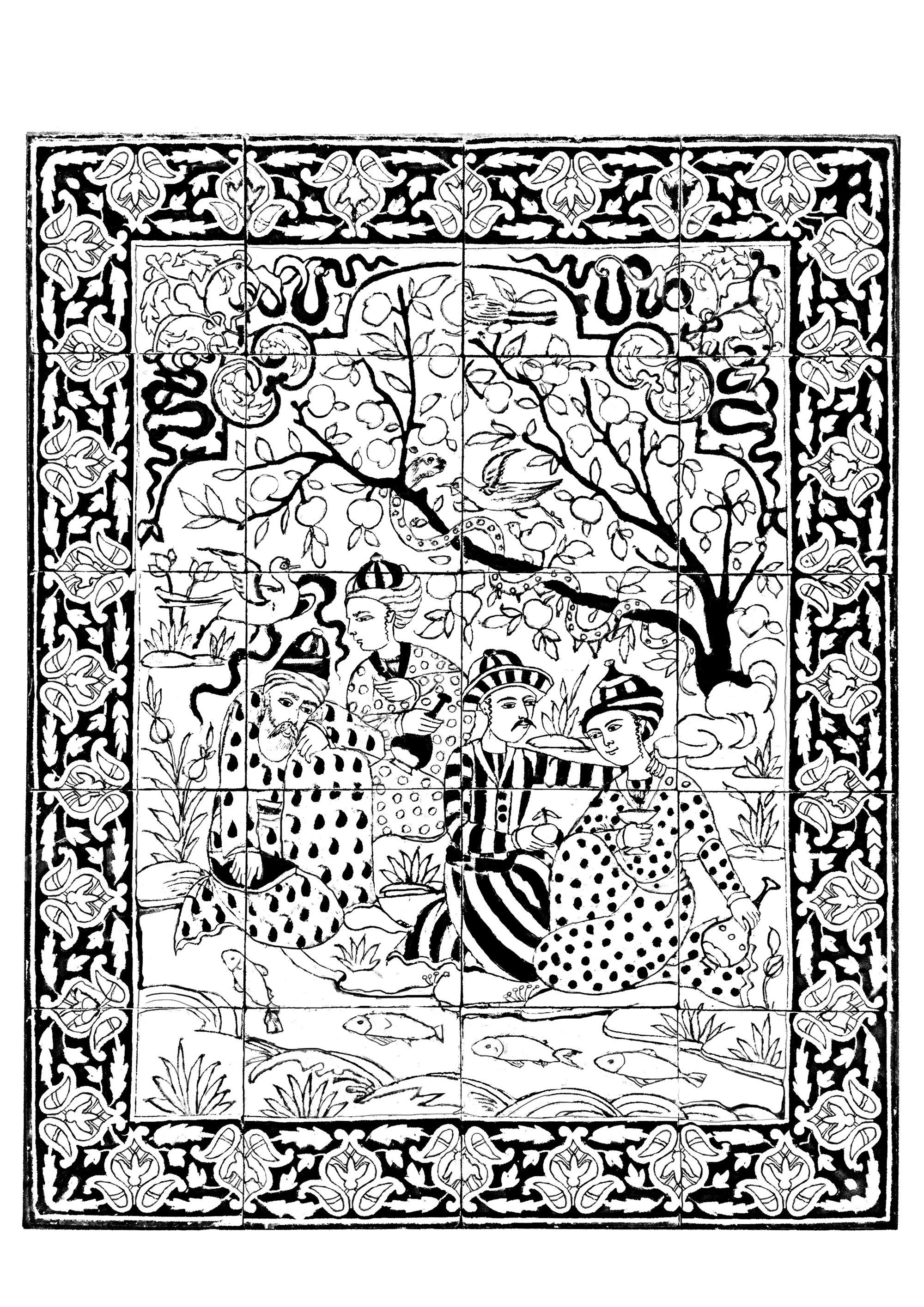 Iran 1700 1800 panneau revetement mural hommes au bord d - Dessin mosaique a imprimer ...