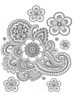 Coloriage adulte paisley difficile