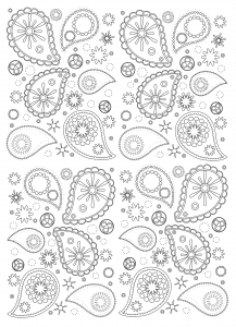 Coloriage detaille motifs paisley