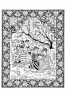 Coloriage iran 1700 1800 panneau revetement mural hommes au bord d un ruisseau