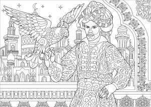 Sultan ottoman avec faucon
