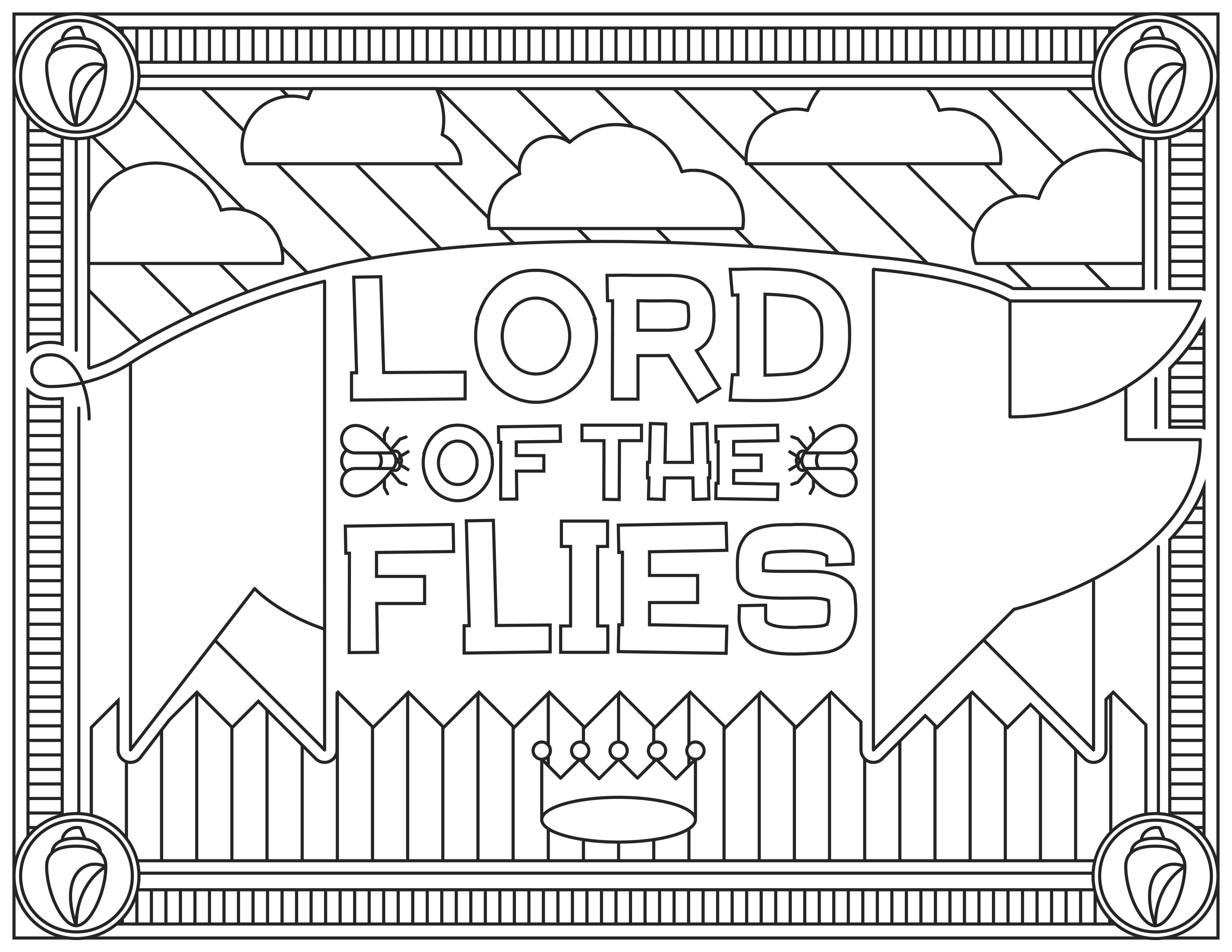 Coloriage inspiré du film 'Lord of the Flies', pour le site Readers.com.