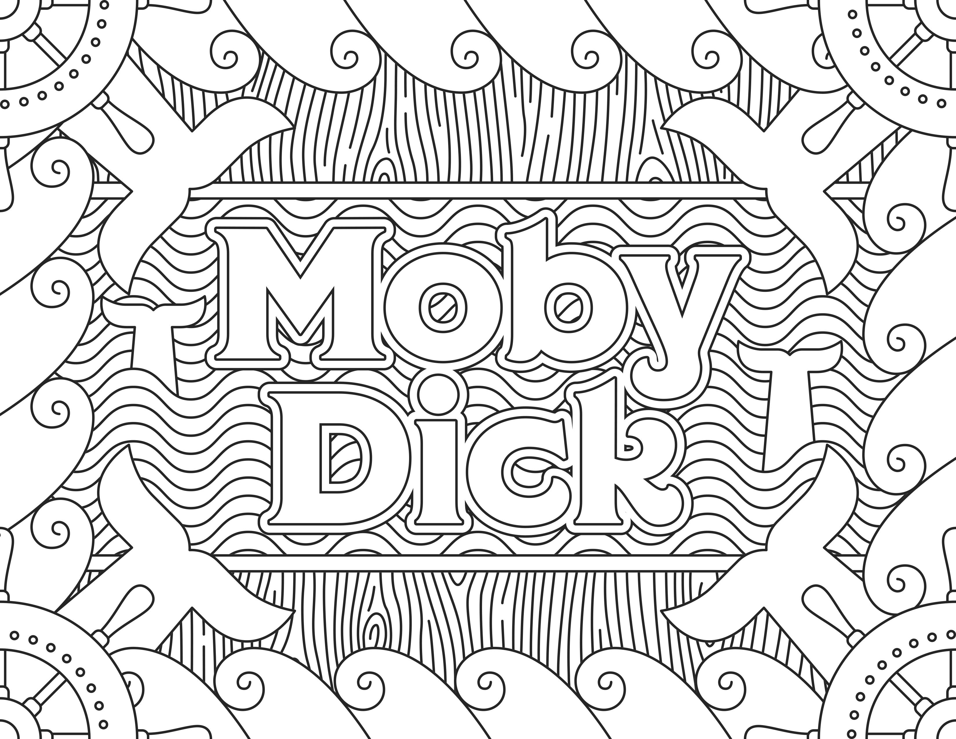 Coloriage inspiré du film 'Moby Dick', pour le site Readers.com.