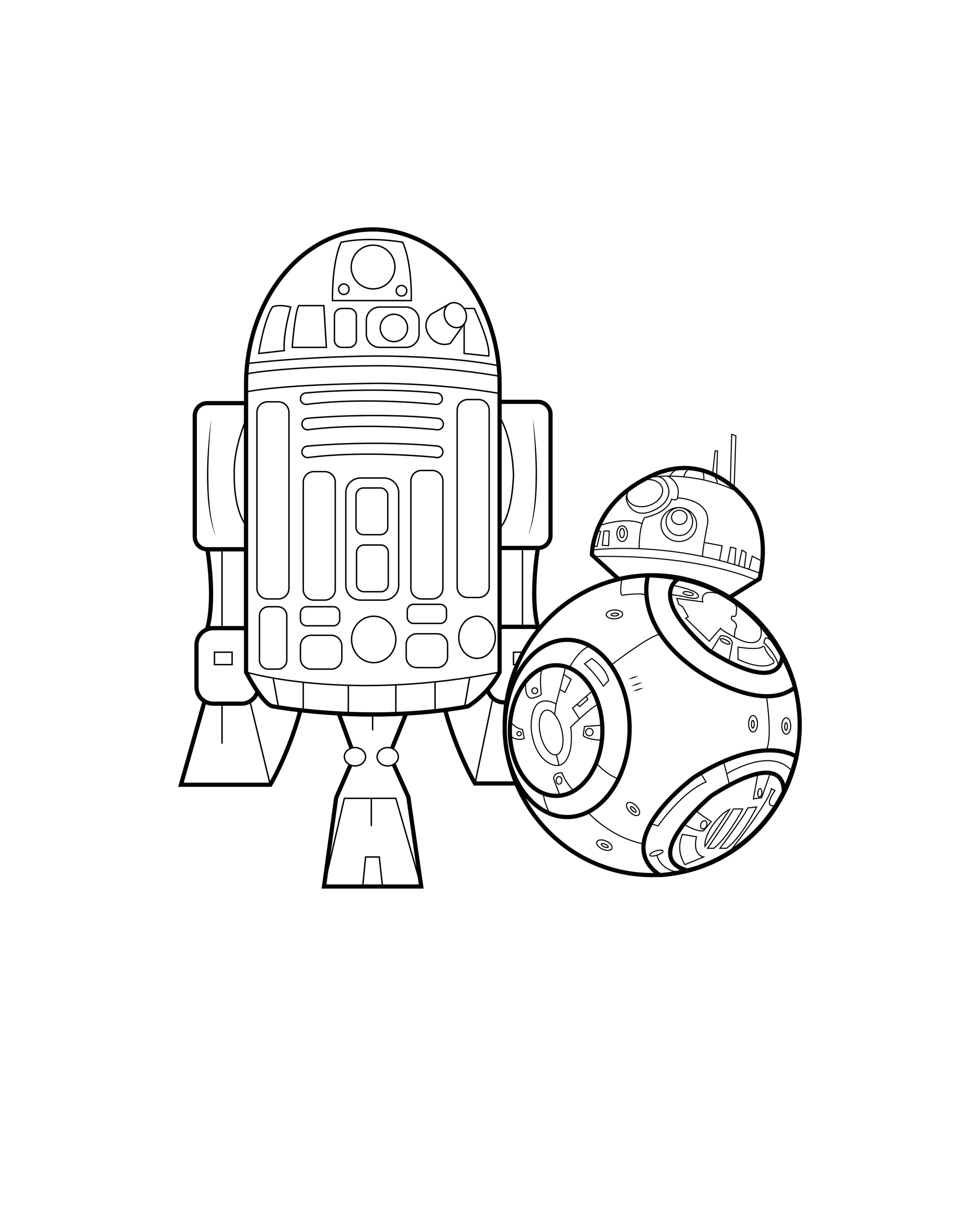 Coloriage inspiré de Star Wars mettant en scène BB8 et R2D2