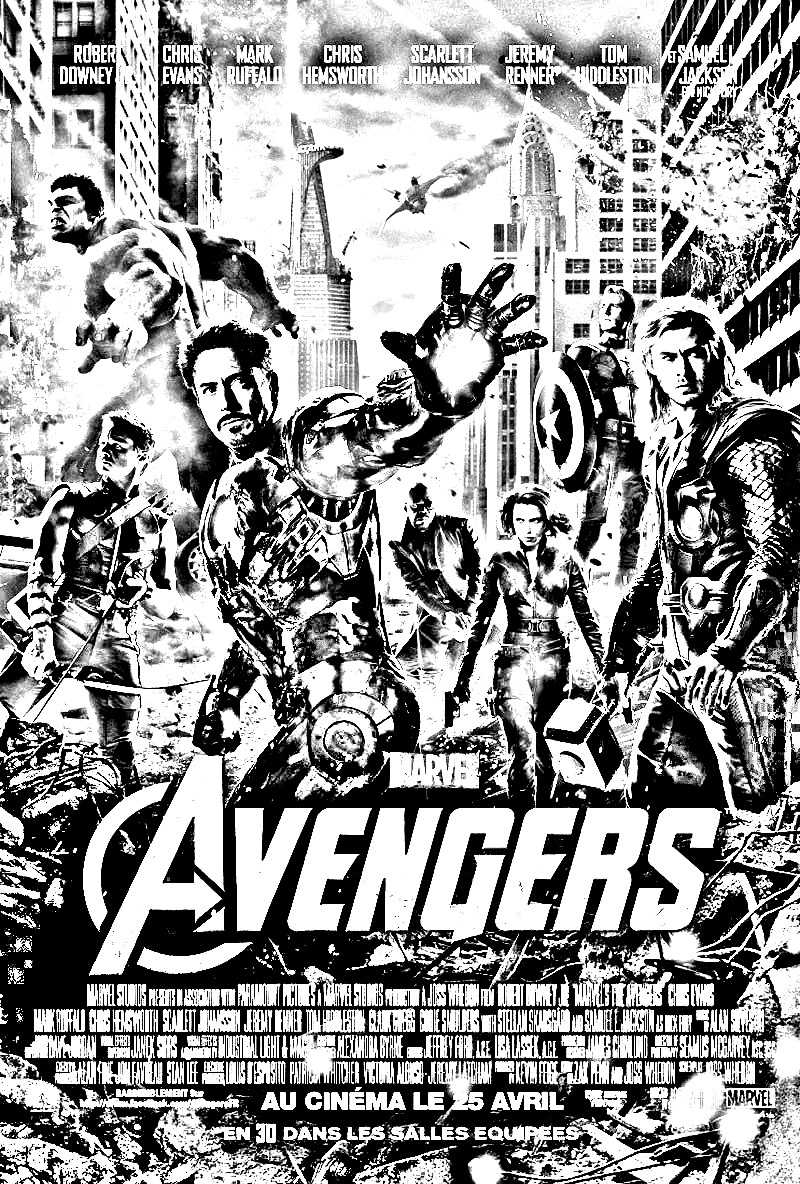 Coloriage affiche The Avengers (Iron man, Thor, Hulk ...)