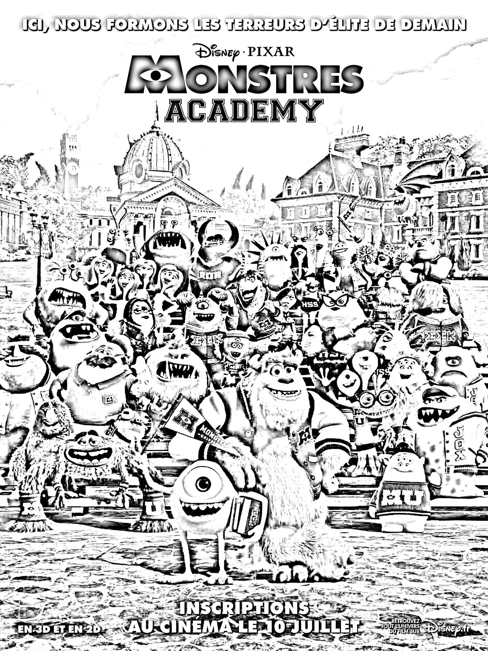 Film montres academy films c l bres coloriages - Monstre academy dessin ...