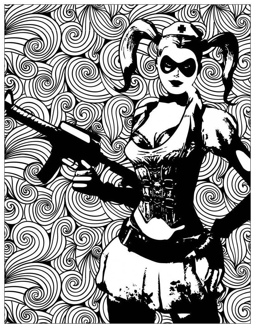 Mechant Batman Harley Quinn Films Célèbres Coloriages