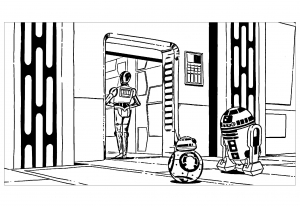 Coloriage robots star wars r2d2 c3po bb8
