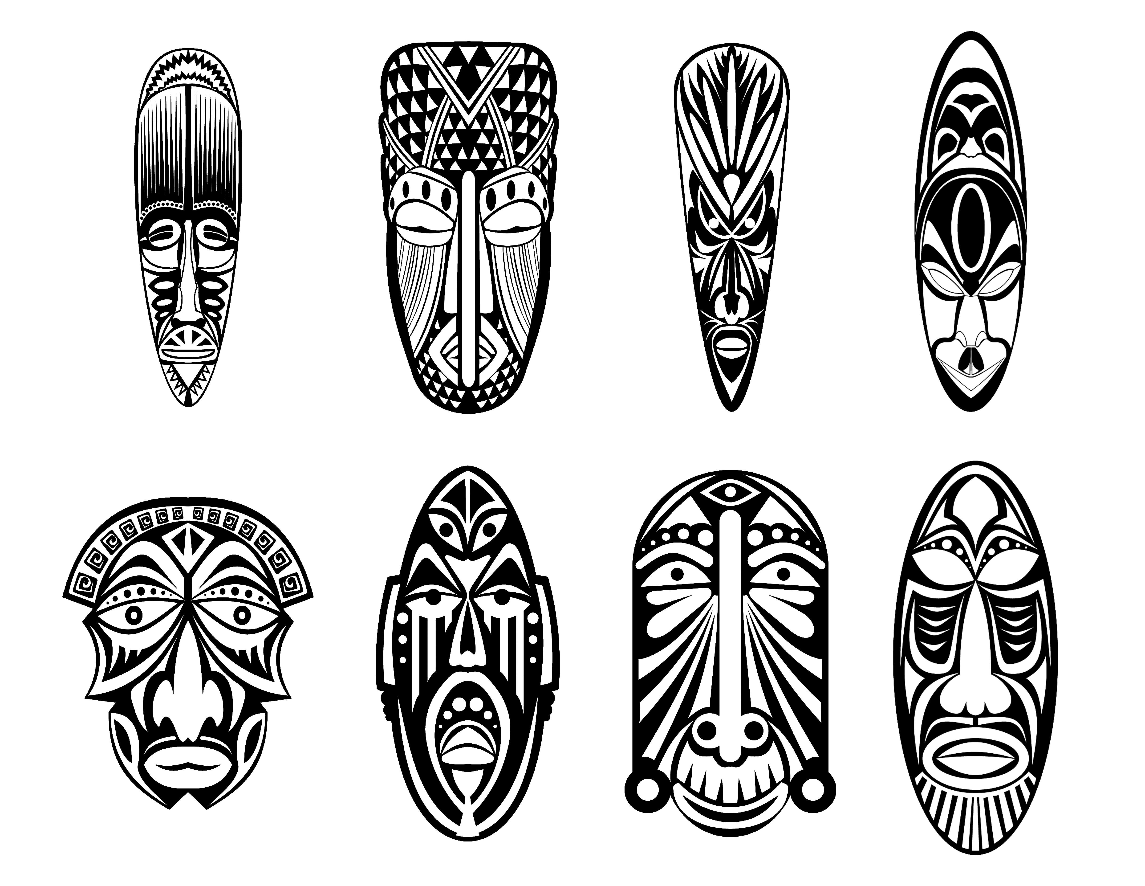 Coloriage Famille Africaine.12 Masques Africains Afrique Coloriages Difficiles Pour Adultes