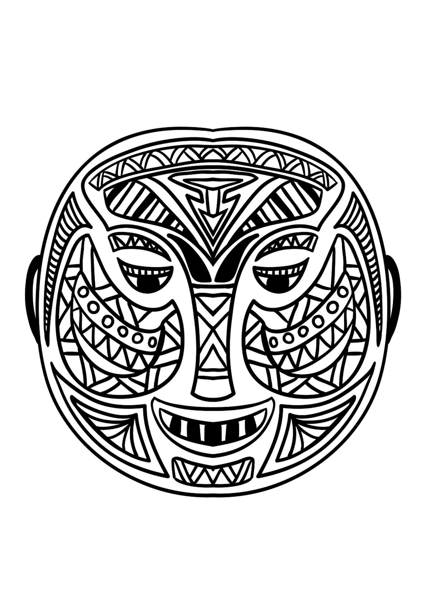 Masque africain 5 afrique coloriages difficiles pour - Dessin de masque africain ...
