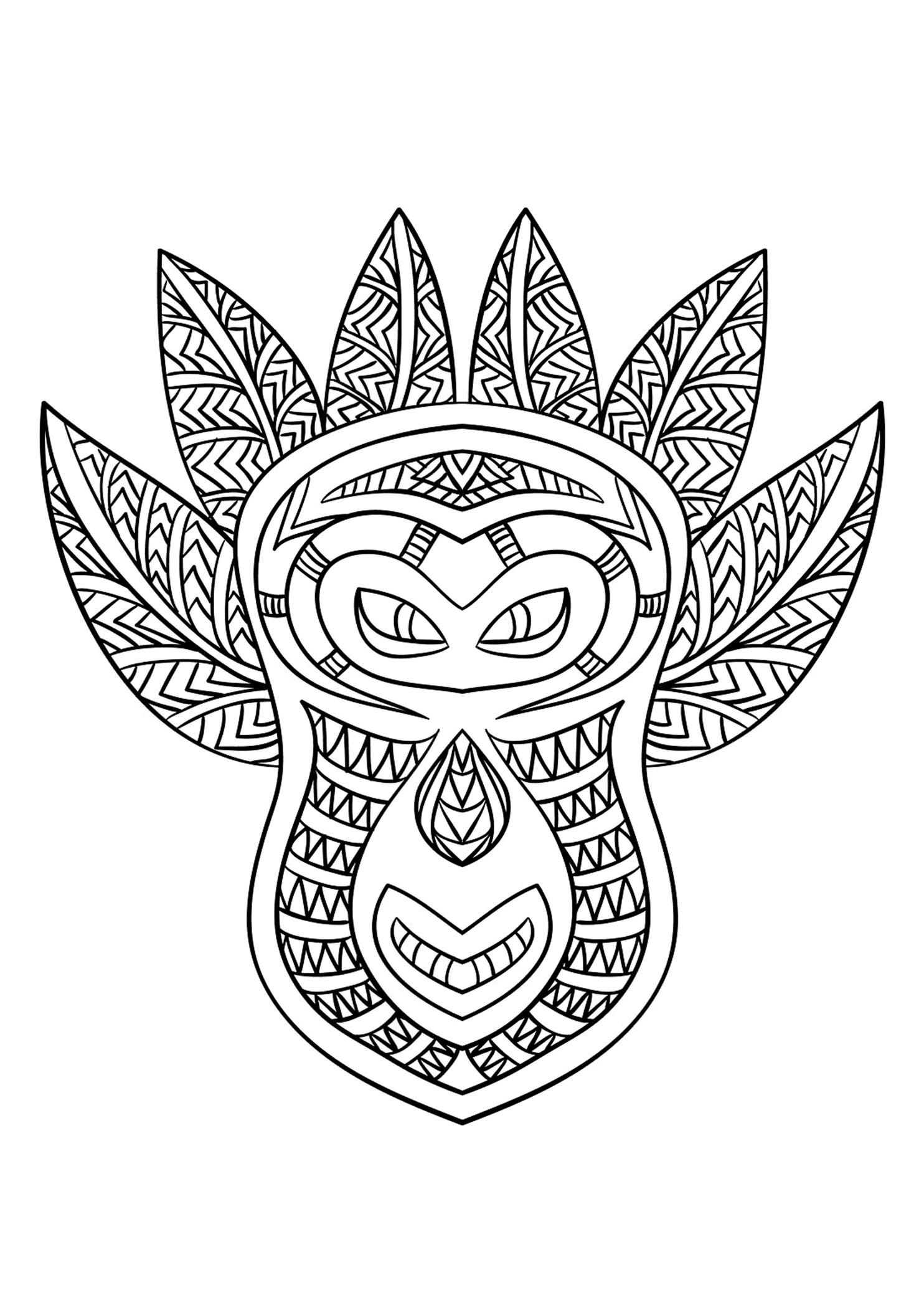 Masque africain 6 afrique coloriages difficiles pour adultes - Coloriage afrique a imprimer ...