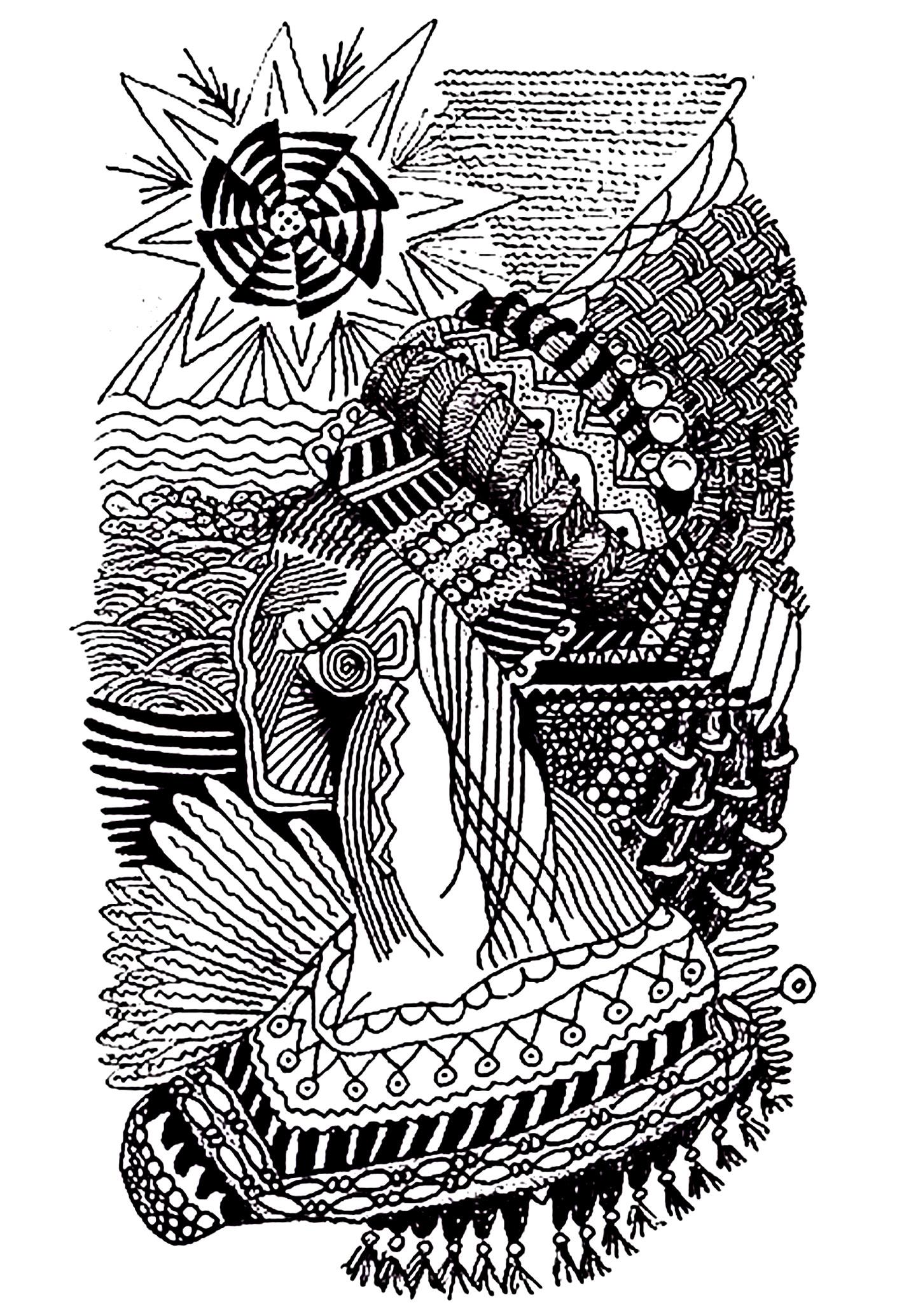Dessin d'une femme africaine, utilisant des motifs zentangle