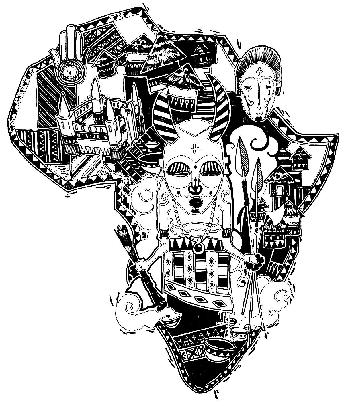 Afrique carte symboles afrique coloriages difficiles pour adultes - Coloriage afrique a imprimer ...