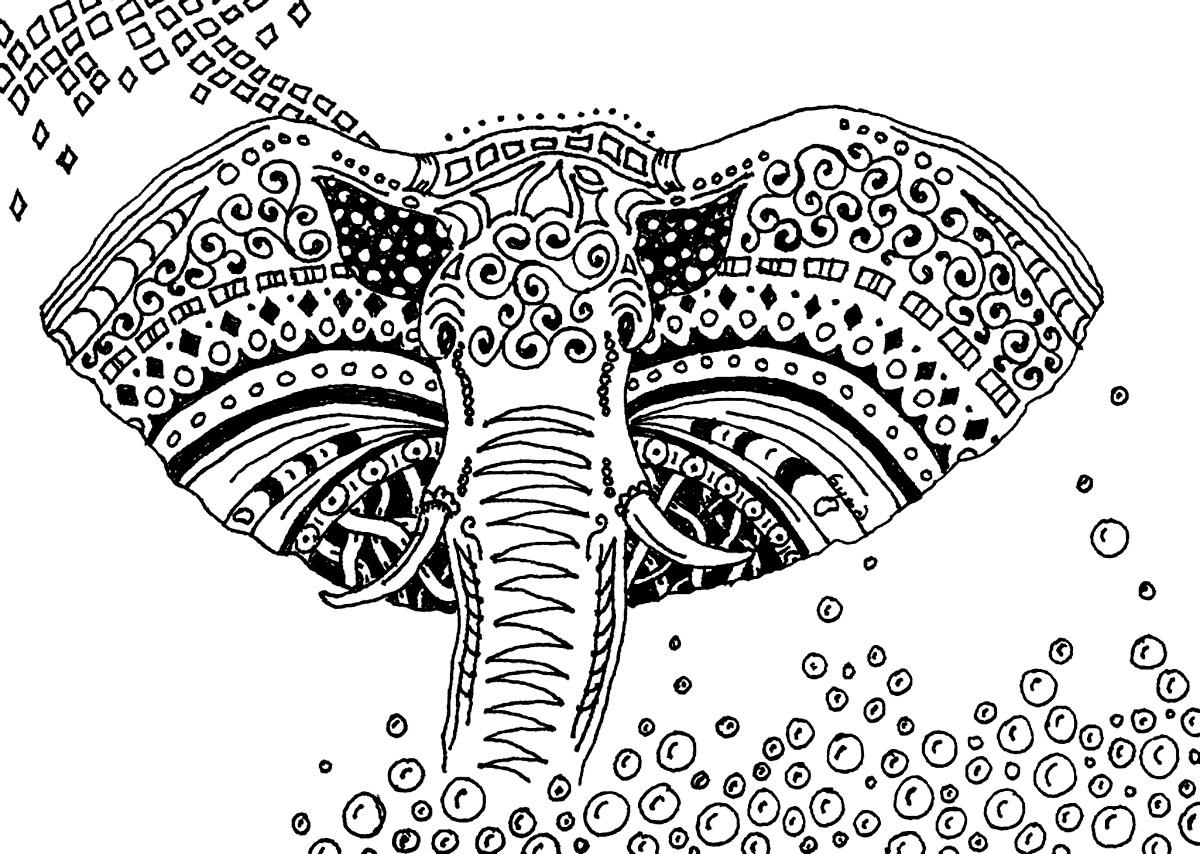 Afrique elefants afrique coloriages difficiles pour adultes - Coloriage afrique a imprimer ...