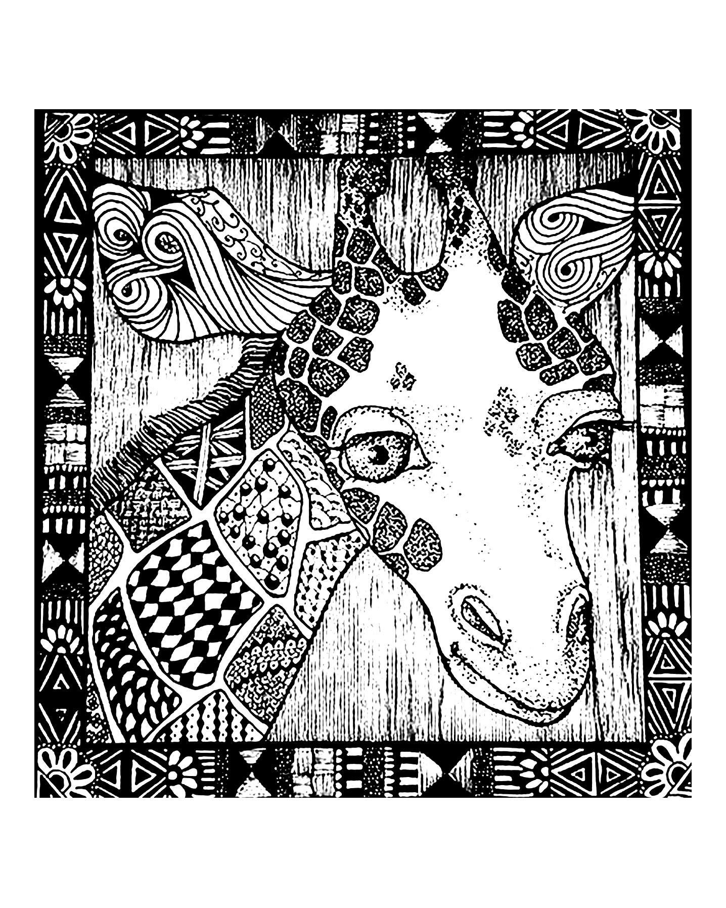 Une jolie tête de Girafe dans un encadrement au style africain