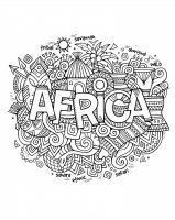 Coloriage adulte afrique abstrait symboles