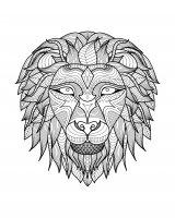 coloriage-adulte-afrique-tete-lion-2 free to print