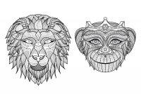 Coloriage adulte afrique tetes singe lion