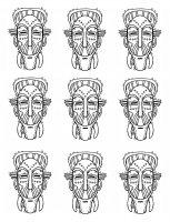Coloriage afrique masques traditionnels