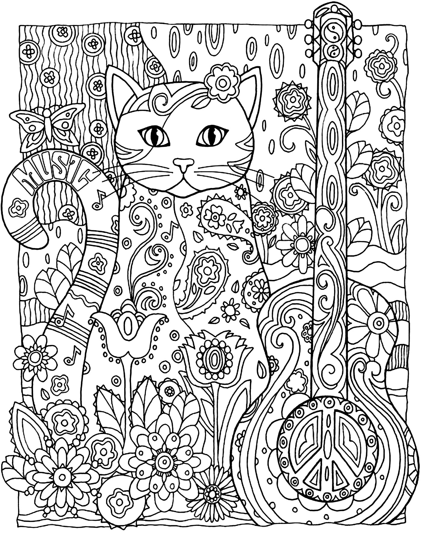 coloriage adulte animaux chat guitare 2 free to print
