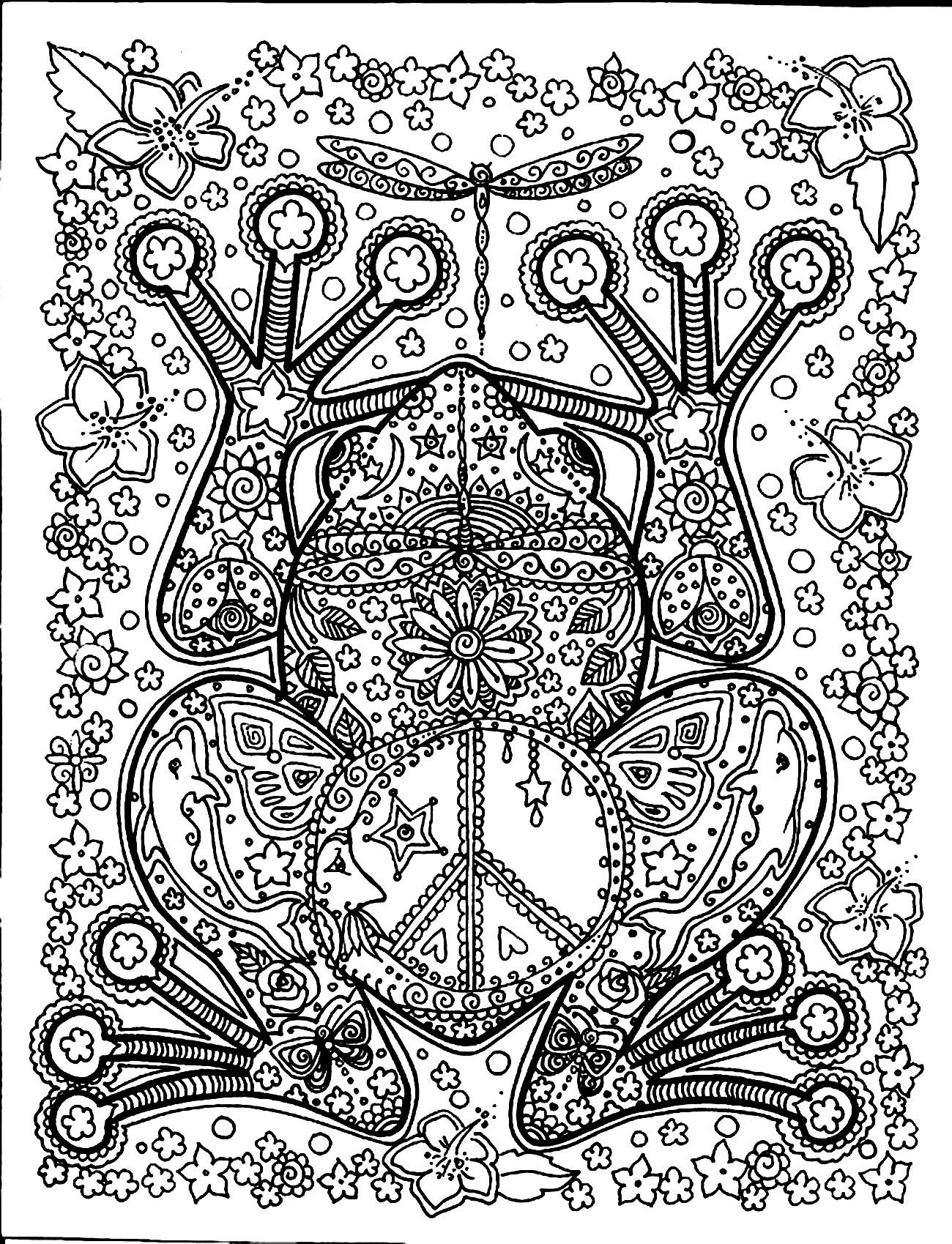 Jolie grenouille vue de dessus et ses motifs  colorier