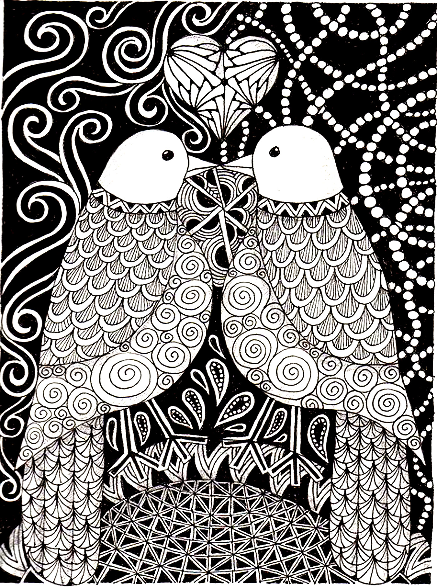 coloriage adulte animaux peruches amour 2 free to print