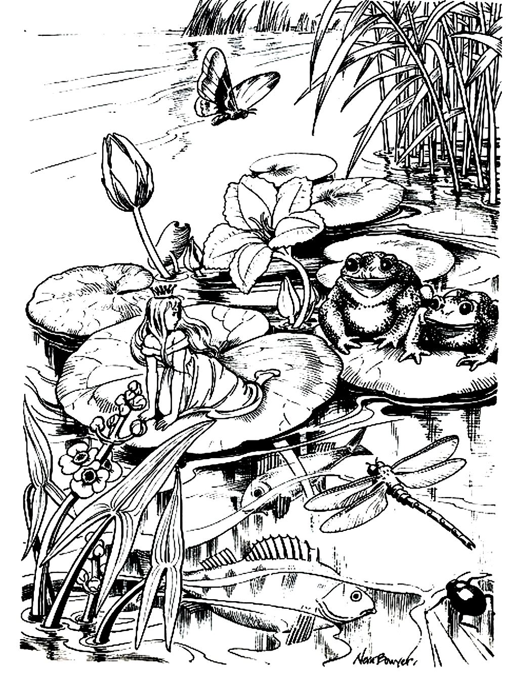 coloriage adulte difficile marre grenouille princesse 2 free to print