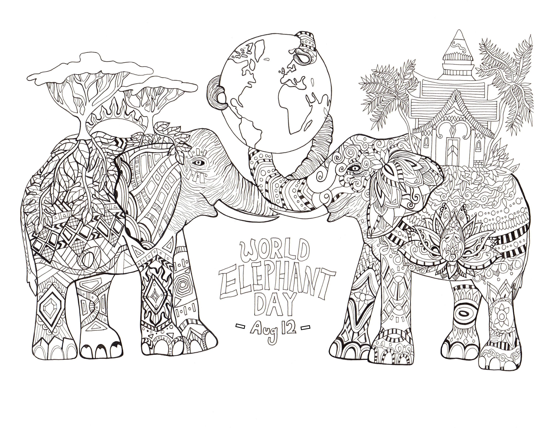 Coloriage réalisé par Rylee Postulo pour la journée mondiale des éléphants (le 12 Août) | A partir de la galerie : Animaux